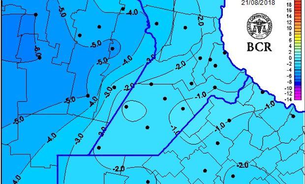 Temperaturas mínimas en la zona núcleo.
