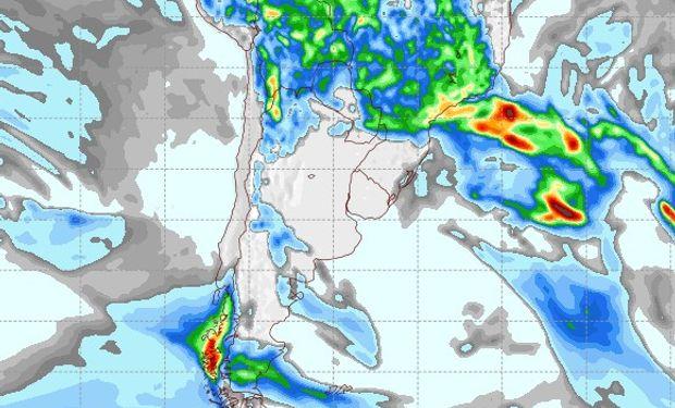 Pronóstico de precipitaciones para el 30 de enero de 2017.