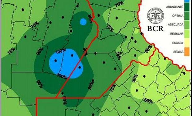 Reserva de agua útil para  pradera al 22/4/2015. Fuente: BCR