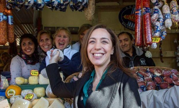 María Eugenia Vidal realizó ayer una recorrida por el predio y luego almorzó con el presidente de la Sociedad Rural Argentina.