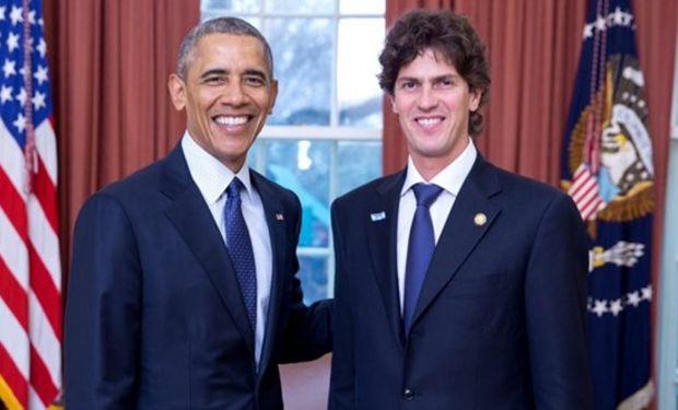 Barack Obama, Presidente de Estados Unidos; y Martín Lousteau, Embajador Argentino en Estados Unidos.